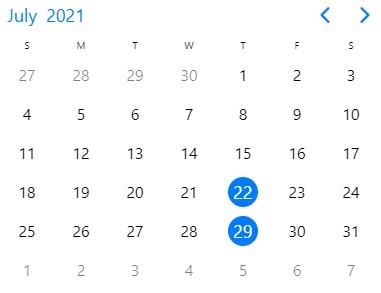 class dates in July